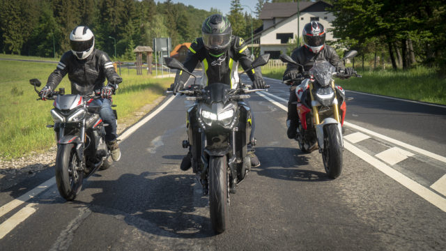 Kawasaki Z900 vs. Triumph Street Triple RS vs. BMW F900R 9