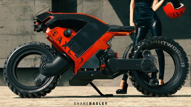 Hubless Electric Motorcycle with Mad Max Looks 1
