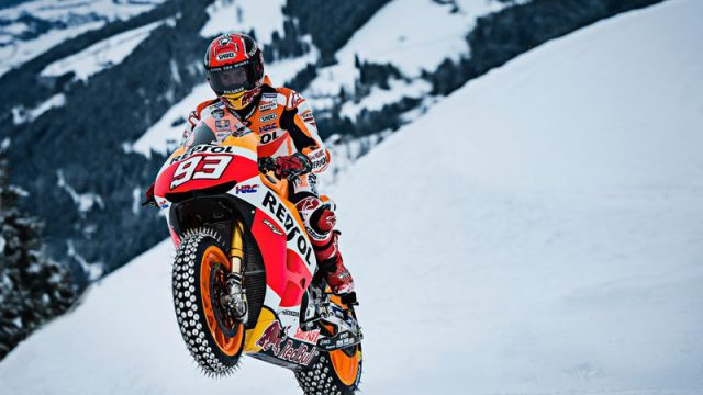 Watch Marquez take his MotoGP bike to Ski. Full Video 1