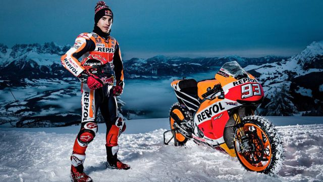 Watch Marc Marquez Ride His MotoGP Bike on an Extreme Ski Slope VIDEO 1