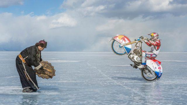 speedway riding frozen lake 3