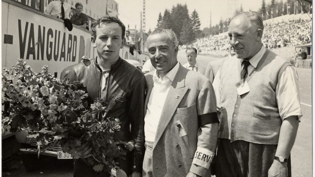 John Surtees with Count Agusta after winning 1956 500cc Belgian GP at Spa