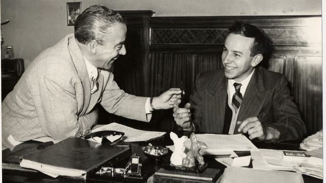 John Surtees signing his first MV Agusta conhtract with Count Agusta in 1955