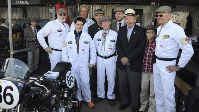 John Surtees with victorious Australian Irving Vincent team Goodwood Revival 2014