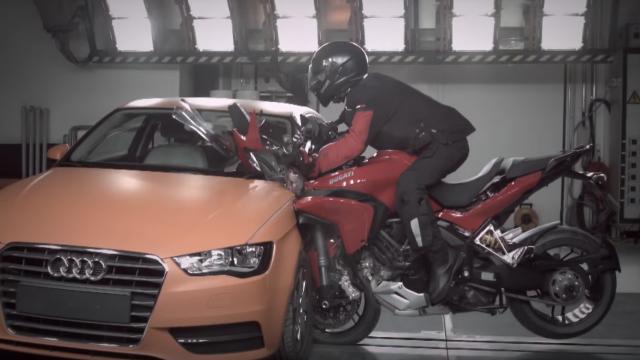 Motorcycle vs. Car Crash Test - Ducati Multistrada vs. Audi A3 1