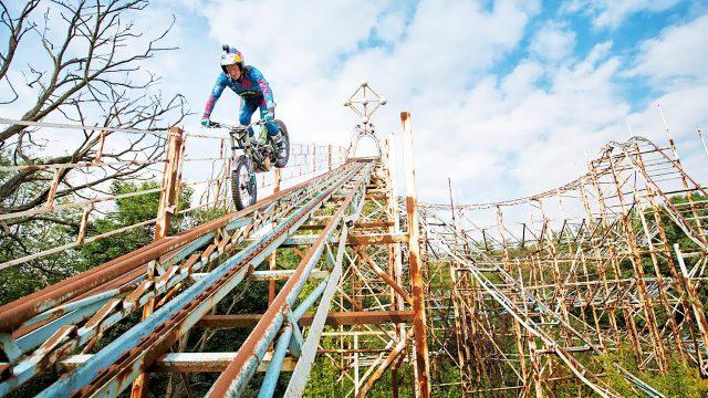 Watch Dougie Lampkin climbing a Roller Coaster VIDEO 1