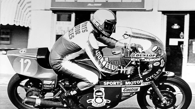 Hailwood at Parliament Square Ramsey in victorious 1978 TT ride