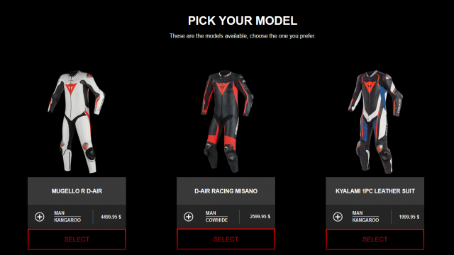 Customize your on Dainese race leathers down to details 9