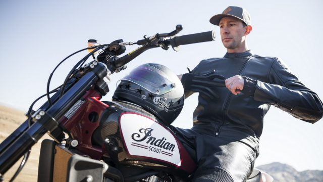 Travis Pastrana jumps Indian Scout FTR750 at Evel Live in July 1