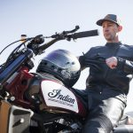 Travis Pastrana jumps Indian Scout FTR750 at Evel Live in July 3