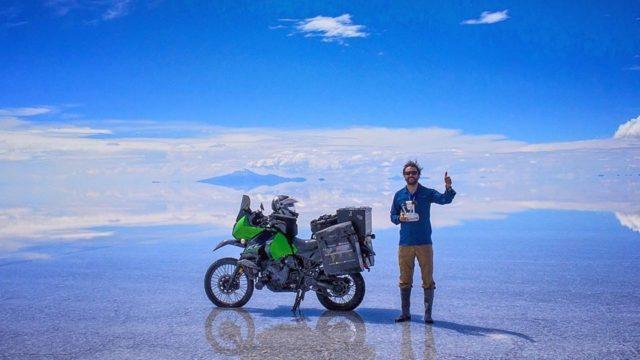 Alex Chacón in a salty desert