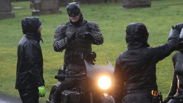 Batman crashes his motorcycle during filming 1